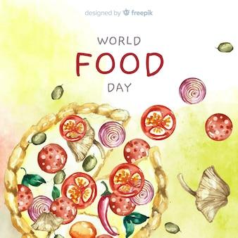 Akwarela światowy dzień jedzenia z pizzą
