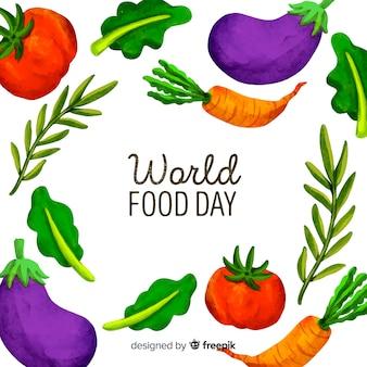 Akwarela światowy dzień jedzenia z warzywami