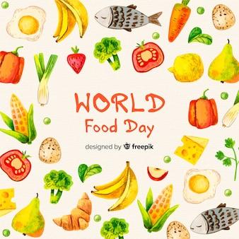 Akwarela światowy dzień jedzenia
