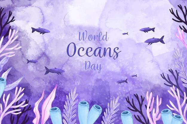 Akwarela światowy dzień oceanów koncepcja