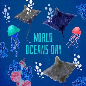 Akwarela światowy dzień oceanów tematu