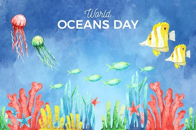 Akwarela światowy dzień oceanów tło