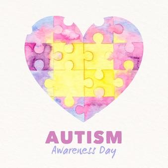 Akwarela światowy dzień świadomości autyzmu