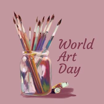Akwarela światowy dzień sztuki ilustracji