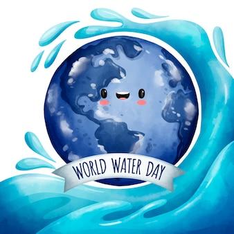 Akwarela światowy dzień wody ilustracja z planetą