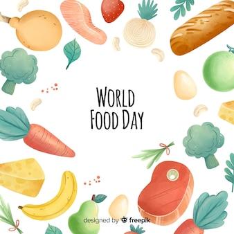 Akwarela światowy dzień żywności ramki