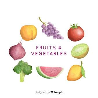 Akwarela świeżych owoców i warzyw tło