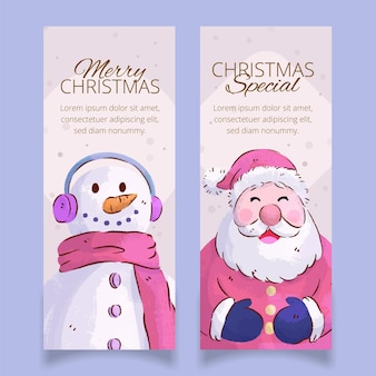 Akwarela szablon banery świąteczne