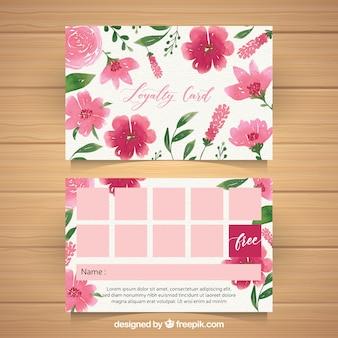 Akwarela szablon karty lojalnościowej z kwiatowy styl
