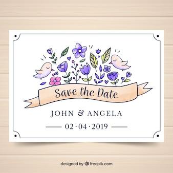Akwarela szablon karty ślubu z kwiatowy styl
