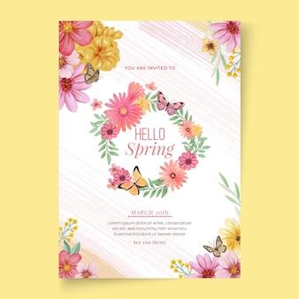 Akwarela szablon karty z pozdrowieniami wiosna