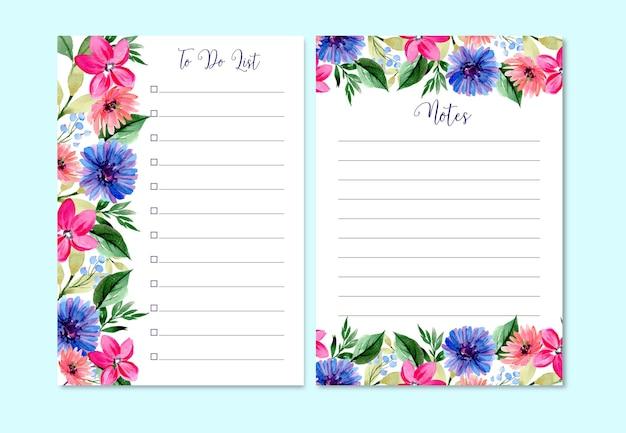 Akwarela szablon listy rzeczy do zrobienia różowej lilii i stokrotki słodkie i ładne