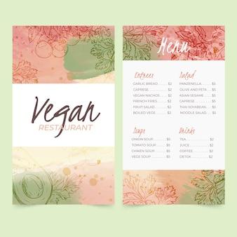 Akwarela szablon menu restauracji zdrowej żywności