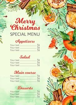 Akwarela szablon menu świąteczne z elementami