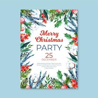 Akwarela szablon plakatu świątecznego