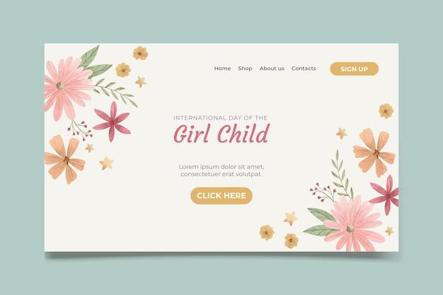 Akwarela szablon strony docelowej międzynarodowego dnia dziewczynki