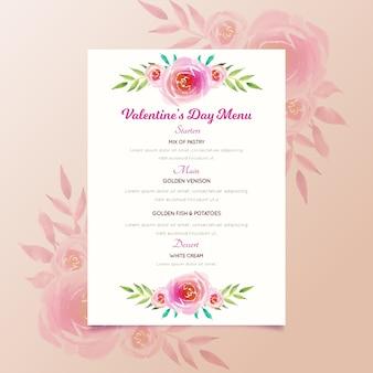 Akwarela szablon walentynki menu z kwiatami