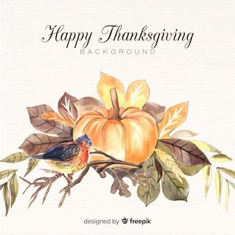 Akwarela szczęśliwy dzień dziękczynienia tło