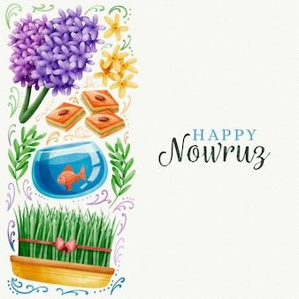 Akwarela szczęśliwy dzień nowruz