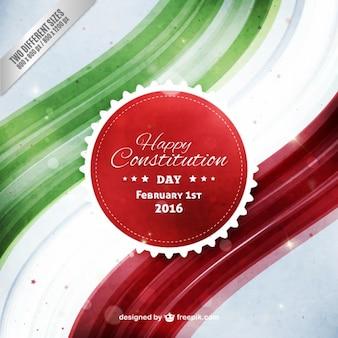 Akwarela szczęśliwy konstytucji meksyku tle dzień
