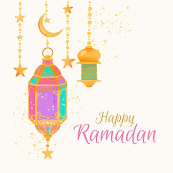 Akwarela szczęśliwy ramadan i lampy