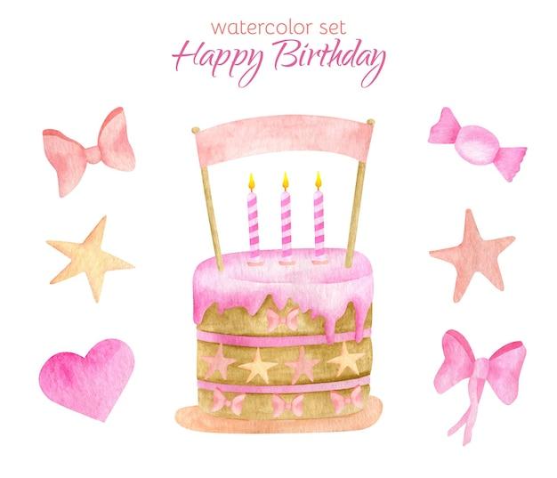 Akwarela szczęśliwy zestaw urodzinowy. ciasto ze świecami i ilustracją cylinder