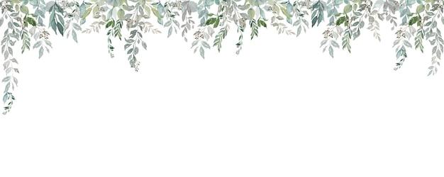 Akwarela szeroka rama z lekkich liści w stylu vintage