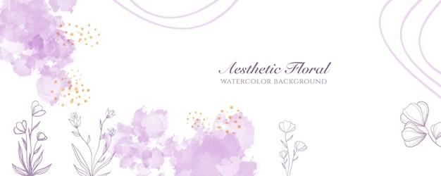 Akwarela szeroki baner okładka lub reklama strony internetowej. akwarela bryzg streszczenie fioletowy brzoskwinia błyszczący szeroki pionowy wektor szablon tło. do urody, ślubu, makijażu, biżuterii. romantyczna kobieca