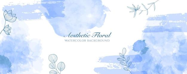 Akwarela szeroki baner okładka lub reklama strony internetowej. akwarela bryzg streszczenie jasnoniebieski błyszczący szeroki pionowy wektor szablon tło. do urody, ślubu, makijażu, biżuterii. romantyczna kobieca