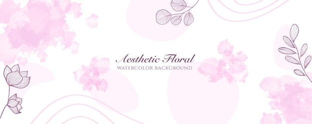 Akwarela szeroki baner okładka lub reklama strony internetowej. akwarela rozpryski streszczenie różowy złoty błyszczący szeroki pionowy wektor szablon tło. do urody, ślubu, makijażu, biżuterii. romantyczna kobieca