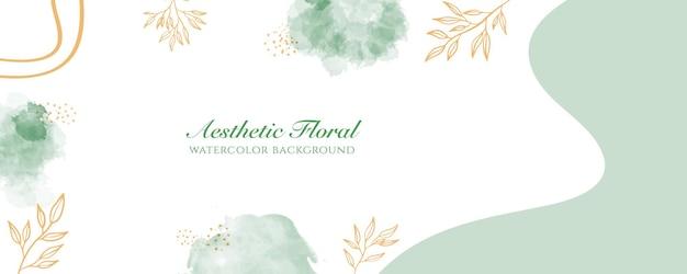 Akwarela szeroki baner okładka lub reklama strony internetowej. akwarela rozpryski streszczenie zielony złoty błyszczący szeroki pionowy wektor szablon tło. do urody, ślubu, makijażu, biżuterii. romantyczna kobieca