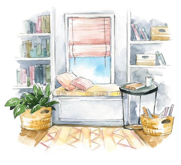 Akwarela szkic wnętrza przytulnego siedzenia przy oknie z półkami na książki z boku