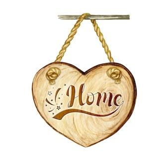 Akwarela szyld drewniane serce z napisem strona główna, puste puste na białym tle.