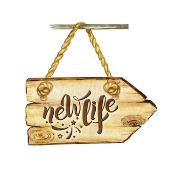 Akwarela szyld drewniany strzałka z ilustracji napis