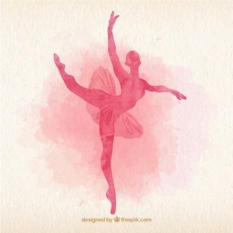 Akwarela tancerka baletowa silhoutte