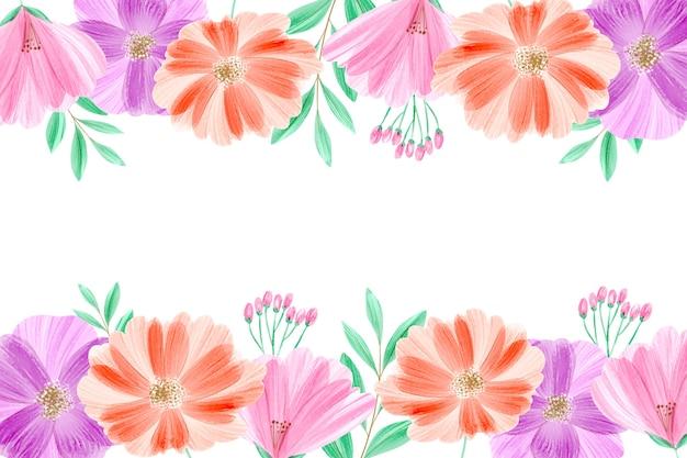 Akwarela tapetą z motywem kwiatowym w pastelach