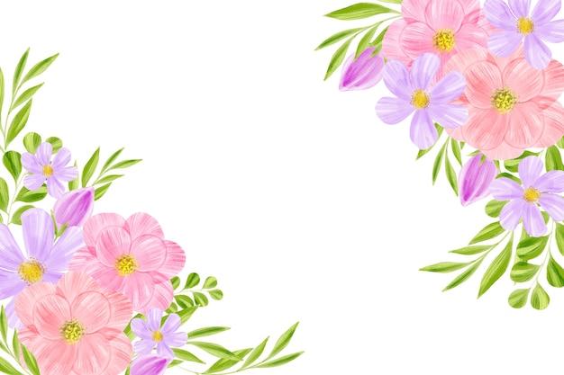 Akwarela tapetą z motywem kwiatowym z białą przestrzenią