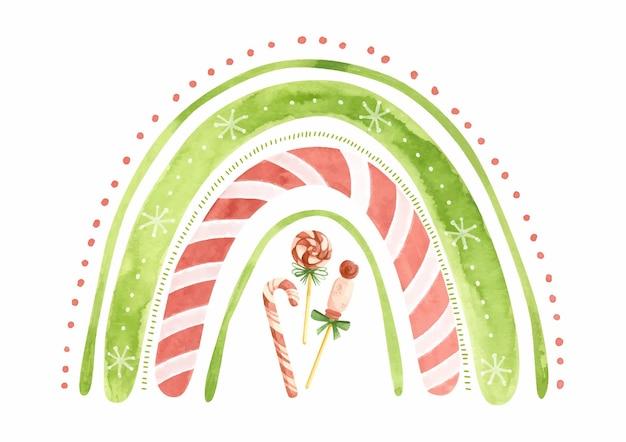 Akwarela tęcza z bożonarodzeniowymi słodyczami i gwiazdami świąteczna zima clipart