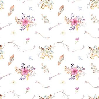 Akwarela teepee kwiatowy wzór