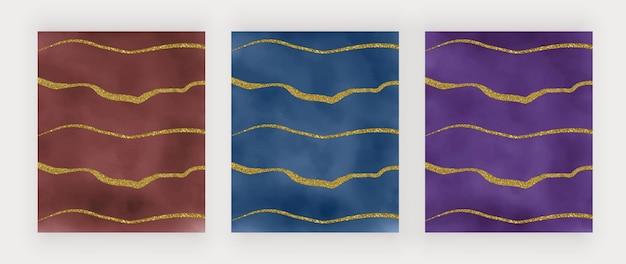 Akwarela tekstury w kolorze czerwonym, niebieskim i fioletowym ze złotymi brokatowymi liniami