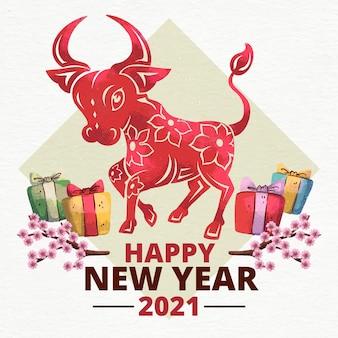 Akwarela têt (wietnamski nowy rok)