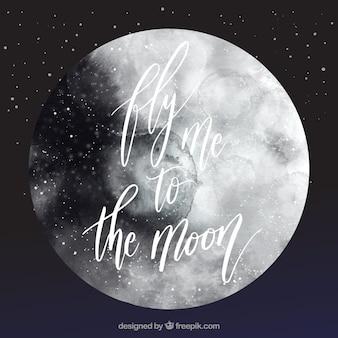 Akwarela tle księżyca