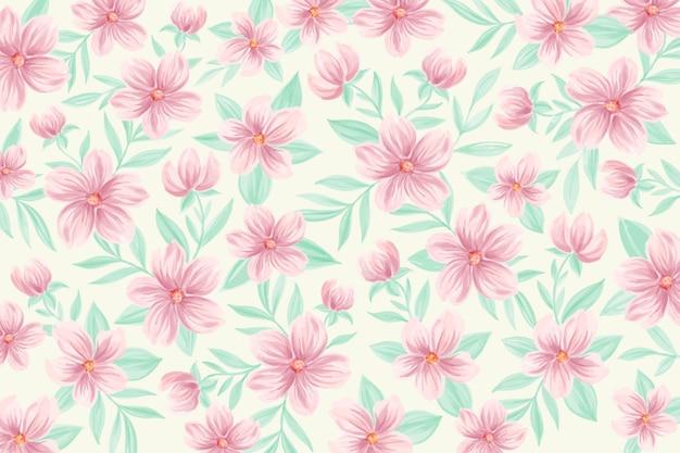 Akwarela tle kwiatów w delikatnych kolorach