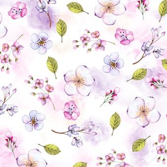 Akwarela tle kwiatów z ręcznie malowanymi elementami
