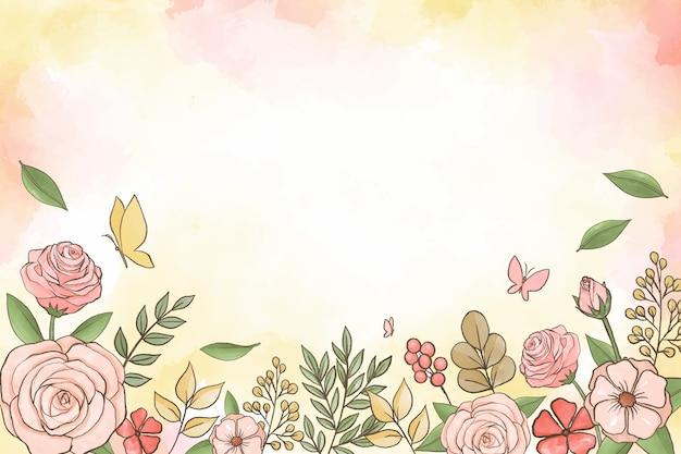 Akwarela tle kwiatów