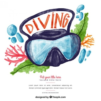 Akwarela tle okulary do nurkowania