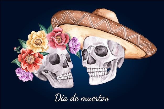 Akwarela tło dia de muertos