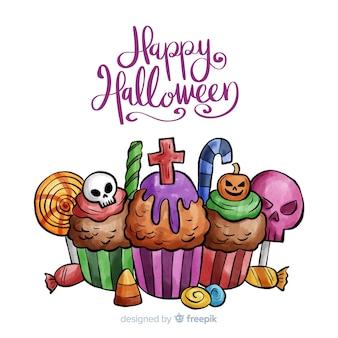 Akwarela tło halloween z posypką