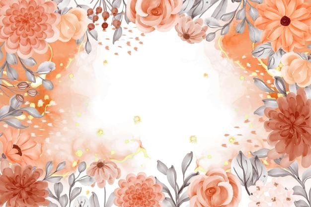 Akwarela tło kwiat pomarańczowy motyw jesienny z białą przestrzenią