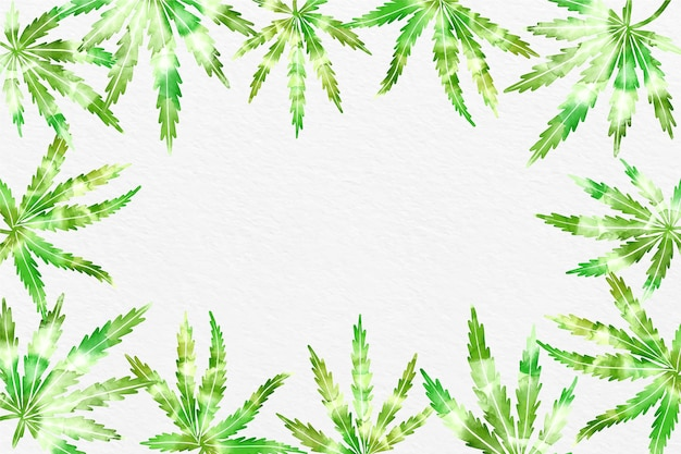 Akwarela tło liści konopi